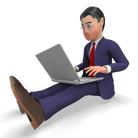 Businessman Typing Showing World Wide Web And Website Stock Photo