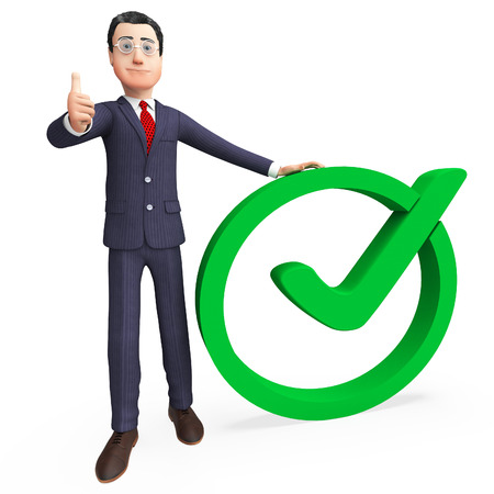 Businessman With Tick Representing Mark Corporation And Confirm Stock Photo