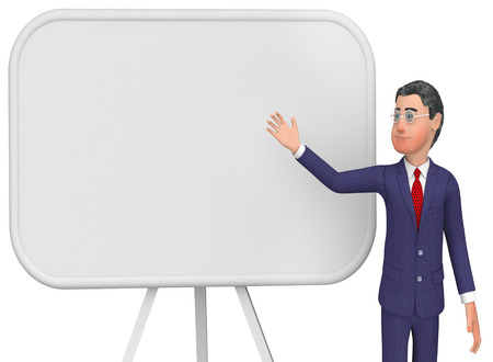 blank space: Businessman Presenting Showing Blank Space And Signboard