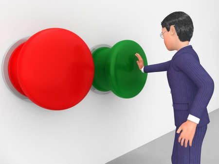 pushes: Businessman Pushes Button Indicating Get Going And Corporate Stock Photo