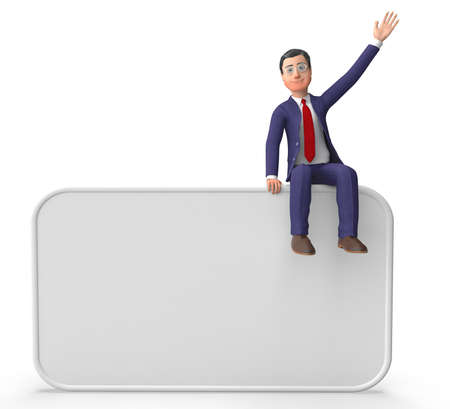 blank space: Businessman On Signboard Representing Blank Space And Corporate