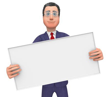 text space: Businessman With Signboard Representing Text Space And Commercial
