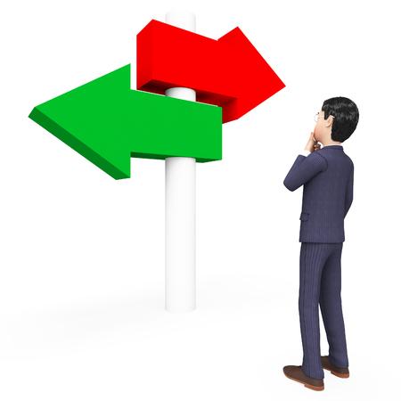 deciding: Businessman Deciding Indicating Decision Commercial And Company