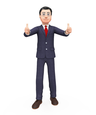 all right: Thumbs Up Businessman Showing All Right And Agreement