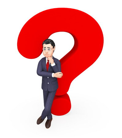 Businessman With Question Meaning Frequently Asked Questions And Faq