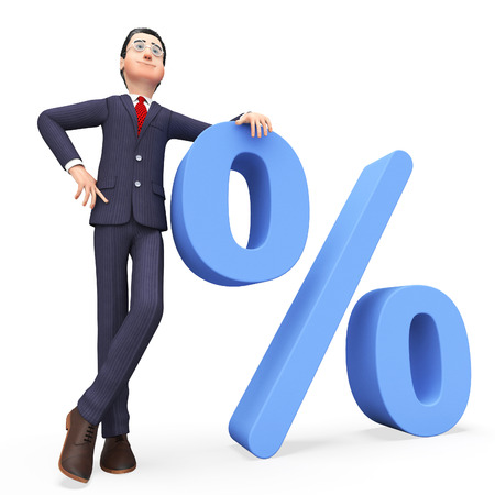 biz: Businessman With Percent Indicating Offer Clearance And Biz Stock Photo