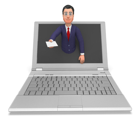 correspond: Businessman Working Online Indicating Web Site And Correspond