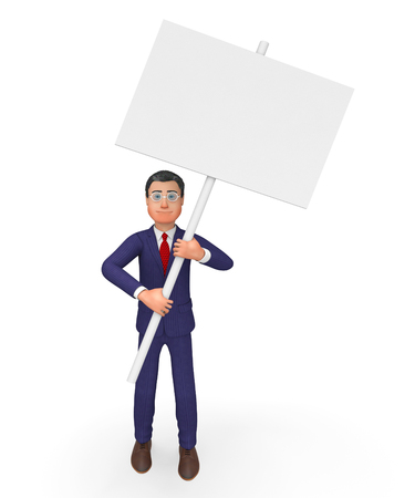 blank space: Businessman With Signboard Indicating Blank Space And Copyspace Stock Photo