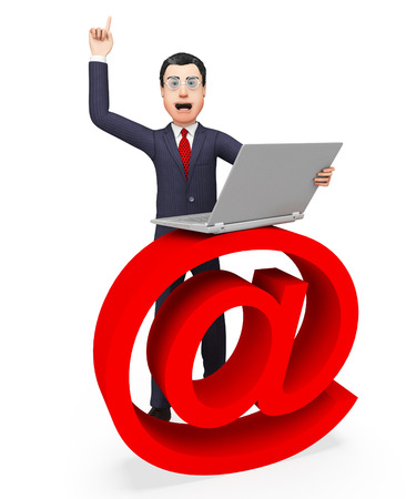 correspond: Email Sign Representing Business Man And Commercial