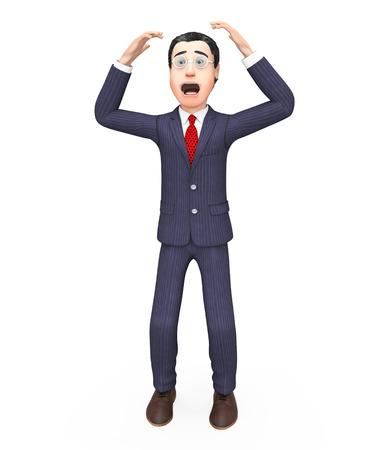 complicación: Hombre de negocios con el problema Mostrando situaci�n dif�cil y Complicaci�n