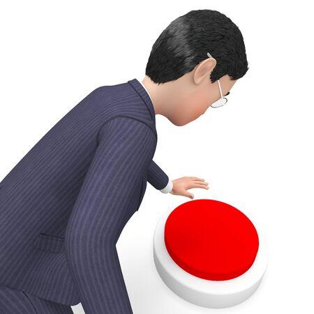 pushing button: Businessman Pushing Button Indicating Biz Professional And Pressing