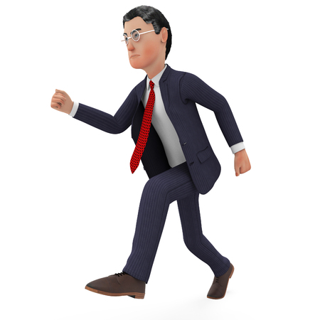 quickly: Businessman Walks Quickly Meaning High Speed And Executive