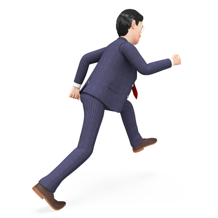hurried: Businessman Walks Quickly Showing Saving Time And Stroll Stock Photo