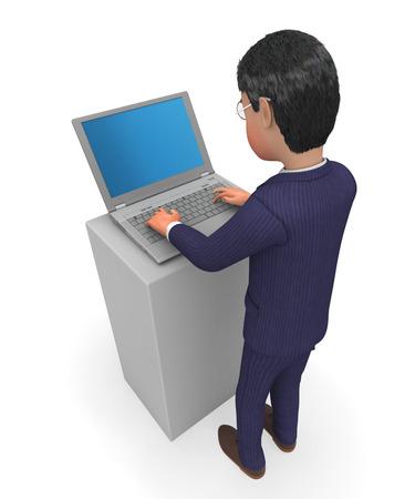 high tech world: Businessman Typing Showing World Wide Web And High Tech