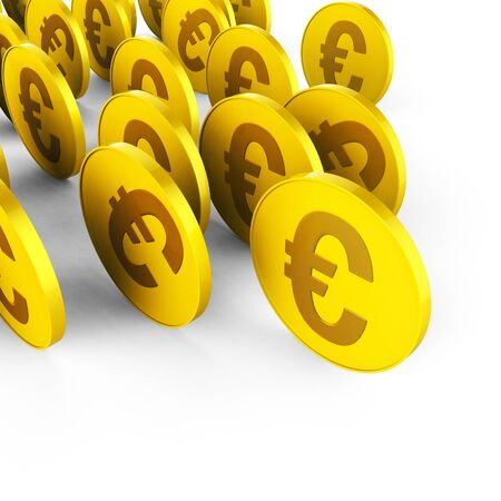 euro coins: Euro Coins Indicating Revenue Trading And Finance