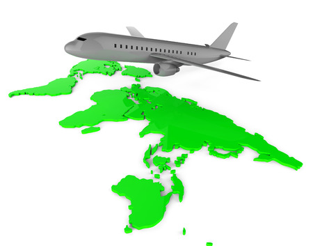 web site: Worldwide Flights Showing Web Site And Airplane