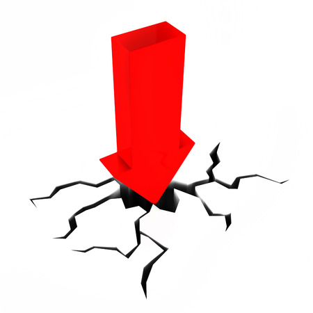 stumbling: Arrow Crashing Showing Difficult Situation And Problem Stock Photo