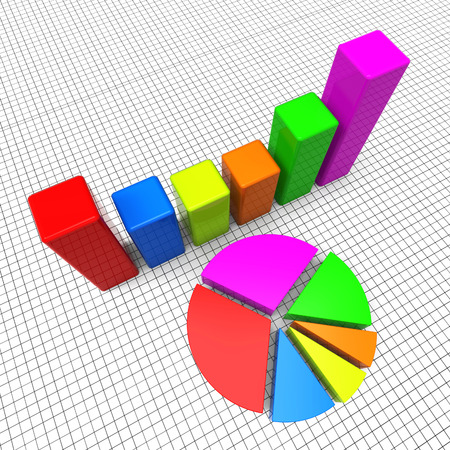 statistical: Pie Chart Representing Business Graph And Statistical Stock Photo