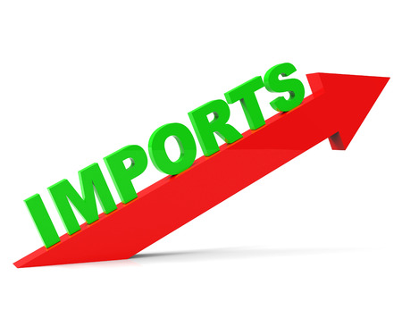importation: Increase Imports Representing Buy Abroad And Trade Stock Photo