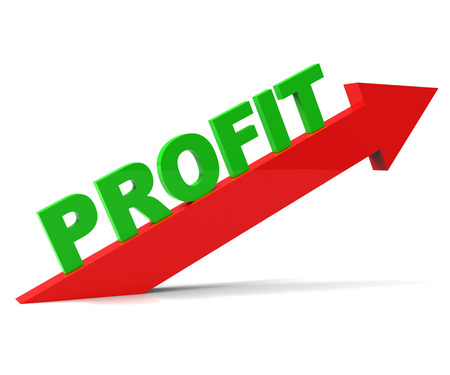 rentable: Aumentar los beneficios que indica hacia arriba rentable y Progreso
