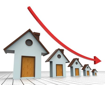 decreased: House Prices Decreasing Indicating Real Estate Agent And Prime Real Estate