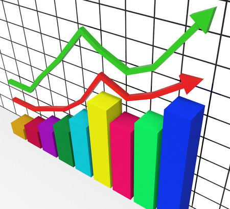 lucrative: Graph Increasing Showing Advance Growth And Lucrative