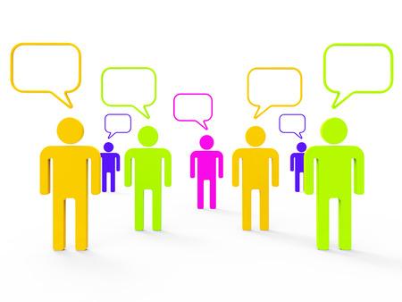 personas comunicandose: Personas que se comunican Mostrando Red Informática Y Juntas Foto de archivo