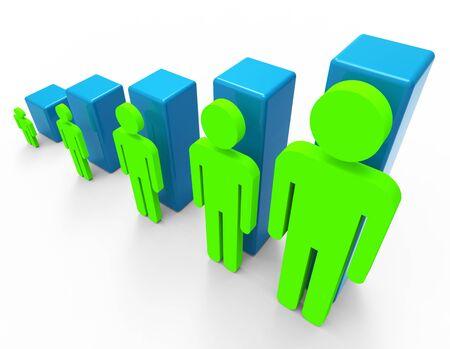 población: Aumentar la población Mostrando Progreso crecer y Hacia arriba Foto de archivo