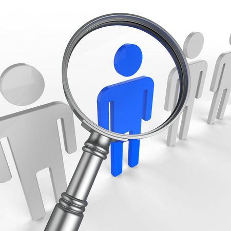 Finding Staff Indicating Strong Point And Talented Stock Photo