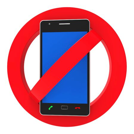 forbids: Phones Banned Representing Forbidden Disallow And Hazard