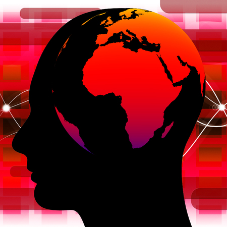 comprehension: Human Knowledge Representing Globalize Person And Wise Stock Photo