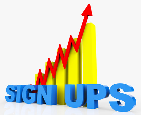 ups: Increase Sign Ups Meaning Progress Report And Upgraded Stock Photo