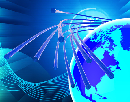 optical fiber: Optical Fiber Network Showing World Wide Web And Website Stock Photo