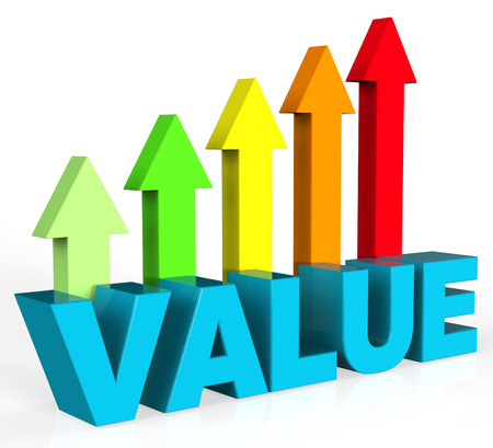 valued: Increase Value Representing Valued Advance And Importance Stock Photo