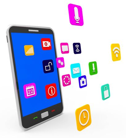 forums: Social Media Phone Showing Application Software And Forums Stock Photo