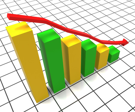decreased: Decreasing Report Meaning Business Graph And Trend