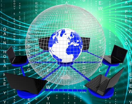 globally: Global Computer Network Meaning Communicate Worldwide And Globally