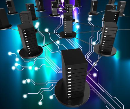 ネットワーク コンピュータ ストレージの意味ネットワーク通信および倉庫 写真素材