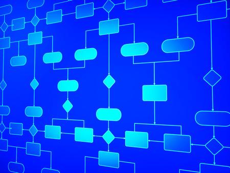 Flow Diagram Vertegenwoordigen Schematische proces en de procedure