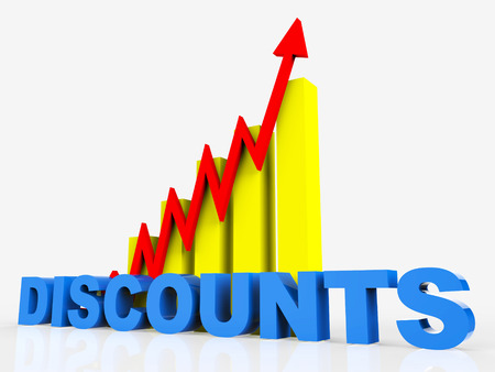 infochart: Big Discount Representing Financial Report And Infochart Stock Photo