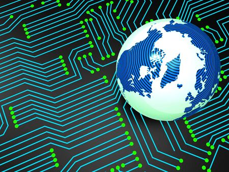 globally: Circuit Board Representing Worldwide Electronics And Globally