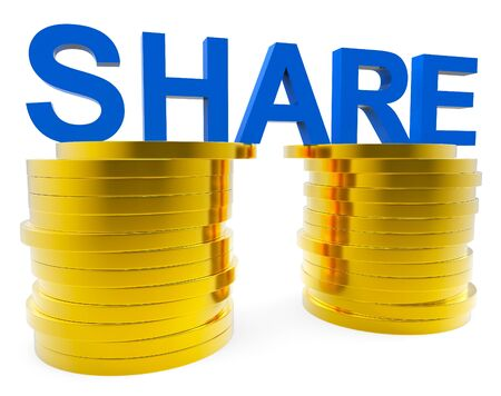 shared sharing: Share Money Meaning Revenue Progress And Wealthy Stock Photo