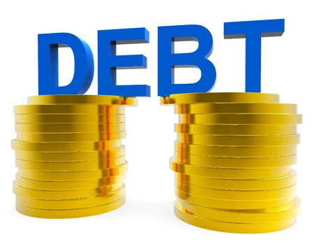 indebted: Big Debt Representing Financial Obligation And Cash Stock Photo