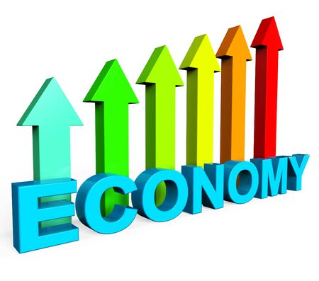 enhancement: Improve Economy Meaning Business Graph And Improvement Stock Photo