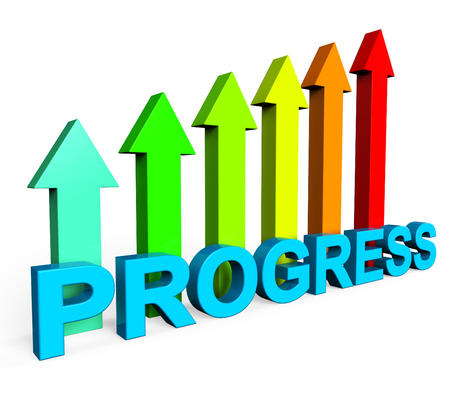improving: Progress Improving Showing Financial Report And Develop Stock Photo