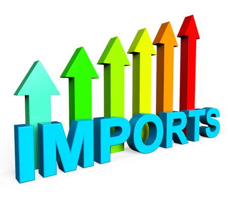 imports: Imports Increasing Representing Financial Report And Grow Stock Photo