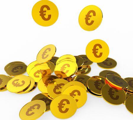 euro coins: Euro Coins Indicating Cash European And Prosperity