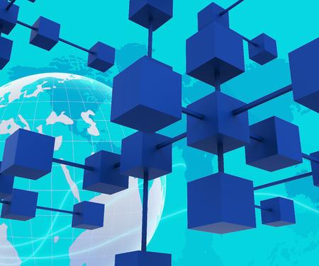 interconnected: Interconectado red que representa el trabajo conjunto y el Planeta Foto de archivo