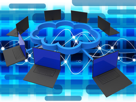 information technology: Cloud Computing Representing Information Technology And Www Stock Photo