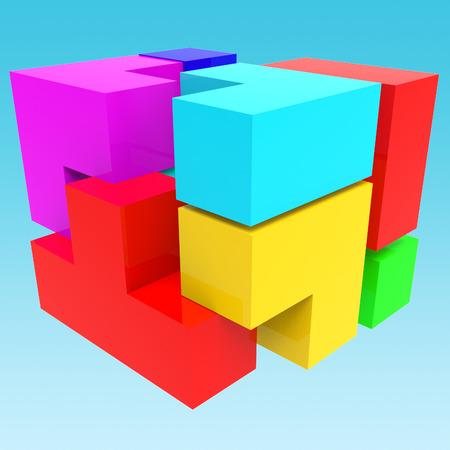 synergy: Synergy Blocks Representing Team Work And Partner